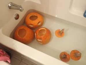 Moved all of them to the deeper end of the tub.