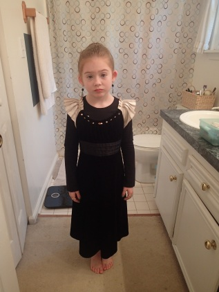 """(wow she looks thrilled )Simple crushed velvet """"gown"""""""