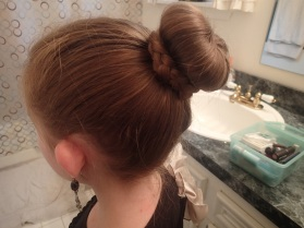 with a simple bun...