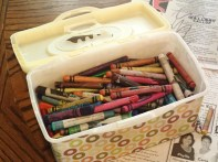 All the intact crayons in their new home.